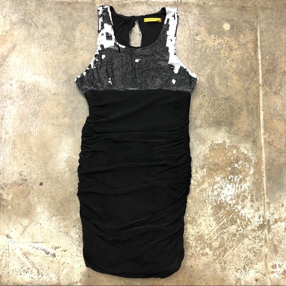 Alice + Olivia Dresses & Skirts - Alice Olivia Sequin Silk Dress Bodycon Ruched 8